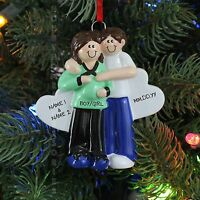 Pregnant Couple Brown Personalized Christmas Tree Ornament Holiday Gift Rudolph