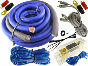 blue 0 gauge 5500 watt car pro complete amp wire amplifier install rh ebay com 0 gauge amp wiring kit 0 gauge subwoofer wiring kit