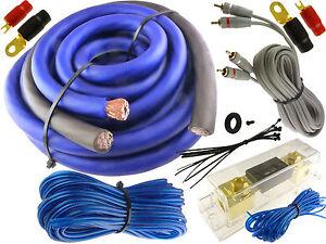 blue 0 gauge 5500 watt car pro complete amp wire amplifier install rh ebay com 1/0 gauge wiring kit 0 gauge wiring kit south africa