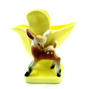 Mid-Century-Pottery-Vase-with-Deer-Fawn-Yellow-Bambi-Cute-Kitsch-Vintage-Crazed