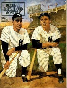 1991-June-Beckett-Baseball-Card-Monthly-magazine-Joe-DiMaggio-Mickey-Mantle-EX