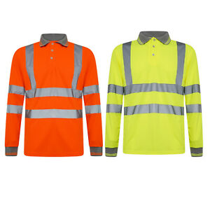 Hi Viz Vis T-Shirt Long Sleeves Top High Visibility Safety Security Work Reflect