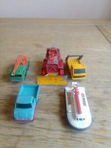 5-Vintage-Matchbox-Lesney-vehiculos-de-plomo-fundido-Juego-Usado