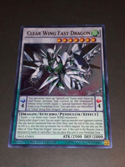 Ultra Rare YA02-EN001 Limited Edition Ne YUGIOH x 1 Clear Wing Fast Dragon