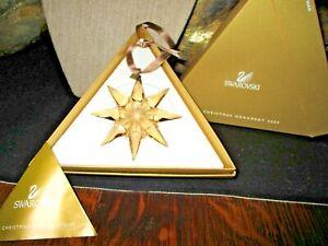 Swarovski-Crystal-Annual-Snowflake-Christmas-Ornament-2009-Original-Boxes-AMBER