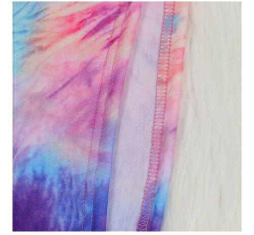 USA Women Tie Dye Galaxy Print Long Sleeve Tee Pants 2PC Set Sporty Outfit #Y