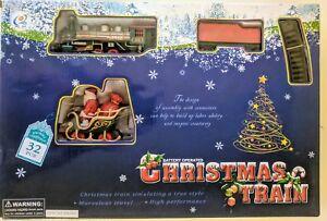 CHRISTMAS-TOY-TRAIN-SET-32-Pieces-88cmx66cm-TRACK-STATION-amp-SANTA-TREES
