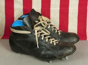 504d5a8581aa Image is loading Vintage-1940s-Kingswell-Black-Leather-Rugby-Boots-Cleats-