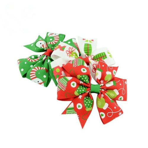 "Hair Bows for Christmas Holidays 24 Pcs 3/""  Girls Grosgrain Ribbon Hairbows"
