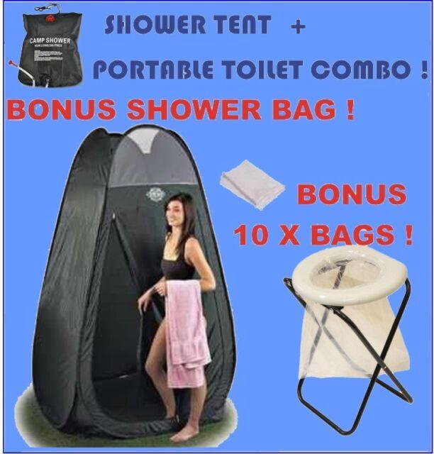 Portable Camp Toilet + Bags + Shower Tent + Solar Shower Combo! Camping Caravan