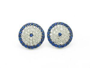 Platinum-Sterling-Silver-White-amp-Blue-Sapphire-Evil-Eye-Design-Stud-Earrings