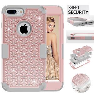 F-iPhone-8-7-Plus-Shine-Case-Hybrid-Armor-Rugged-Rubber-Diamond-Bling-Hard-Cover