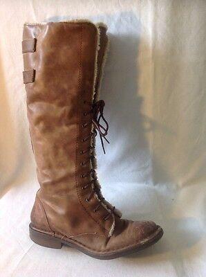 Duna de cuero marrón rodilla alta botas talla 38