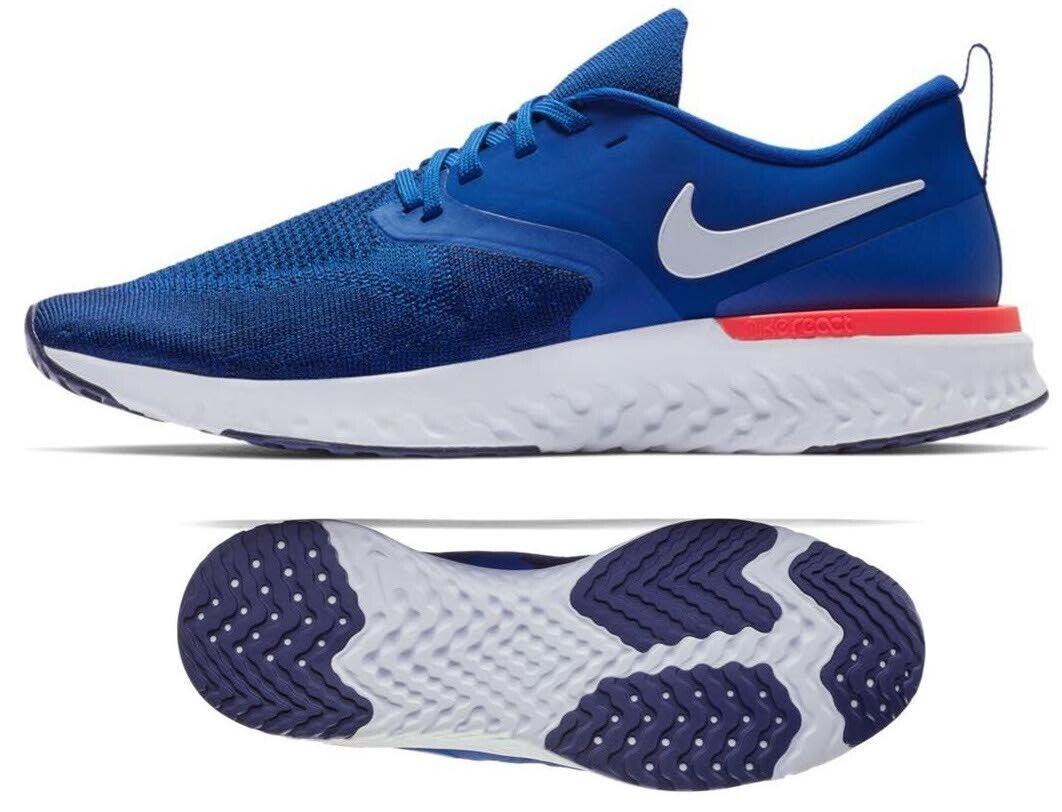 New NIKE Odyssey React 2 Flyknit Men's Running zapatos azul naranja all Tallas