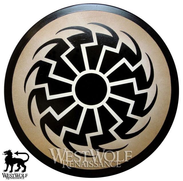 Round Black Sun Viking Shield -- sca/larp/medieval/dark ages/wooden/armor/sheild