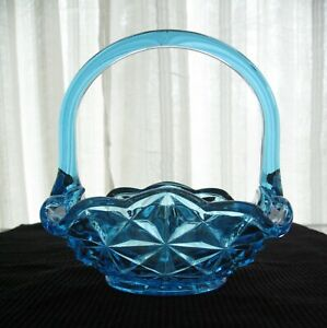 Indiana-Glass-Vintage-Blue-Monticello-Handled-Square-Basket