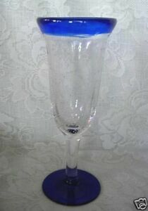 Collectible-Vintage-Cobalt-Blue-Trimmed-Hand-Blown-Glass-Champagne-Flute-Goblet