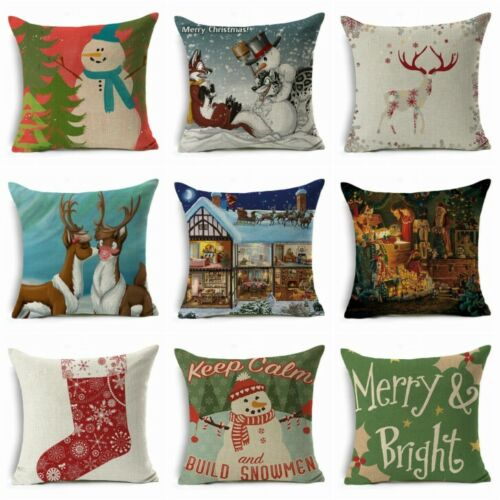 """Pillow Case Decor Throw Christmas Cotton Sofa 18/"""" Cover Cushion Xmas Linen Home"""