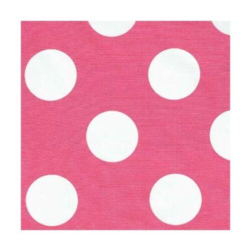 Vente 100/% Coton Popeline Tissu John Louden 50 mm polka dots pois blancs sur rose