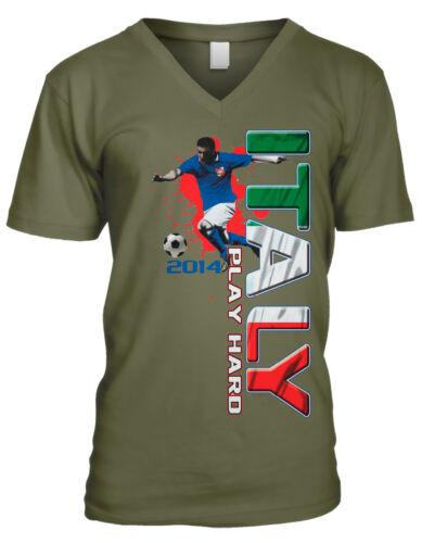 Italy Play Hard Italian Soccer Player World 2014 Team ITA Men/'s V-Neck T-Shirt