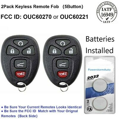 25839476 Car Key Fob 5 Button Flip Keyless Remote Start Control Key Fob for GMC Acadia Yukon//Cadillac Escalade SRX//Chevy Suburban Tahoe Traverse//Buick Enclave15913415 Pack of 2 OUC60270