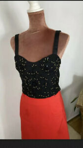 Zara Breaded Embroidered Crop Blouse Top Shirt Boho Retro Top Size M uk 10