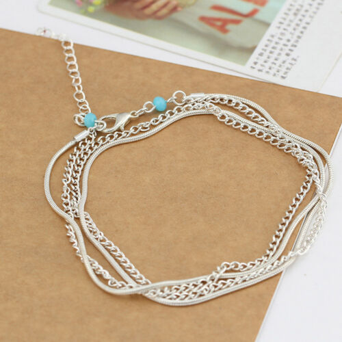 Women Blue Beads Ankle Bracelets Multilayer Foot Chain Link Leg Accessories Bare