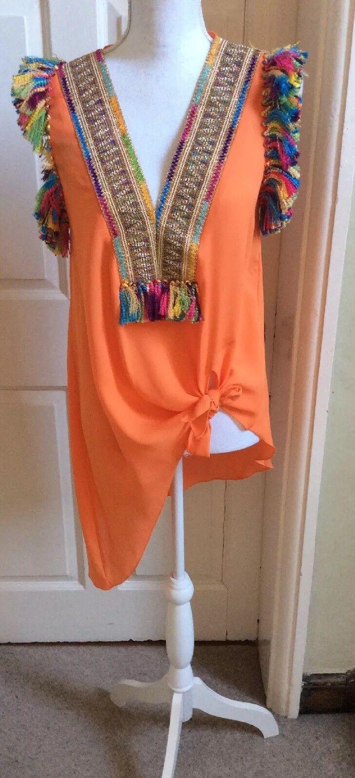 Desidero Arancione Top con dettaglio laccio e dettagli elaborati, Taglia 8 10