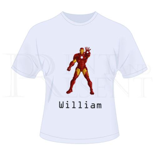 blanc Personnalisé enfants garçons marvel iron man t-shirt