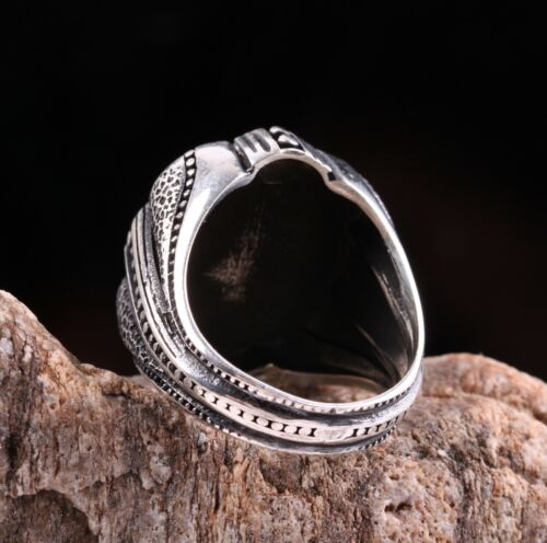 Turkish Jewelry 925 Sterling Silver Green Agate Aqeeq Mens Ring ALL SİZE us 01