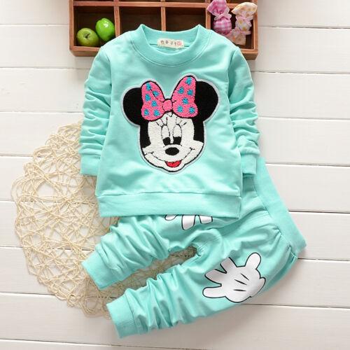 Children Kids Baby Girl Minnie Mouse T-shirt+Long Pants 2pcs Outfits Set Clothes