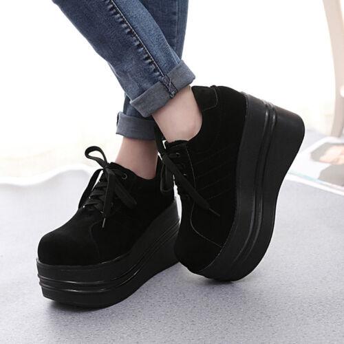 Ladies Gothic Punk Lace Up Round Toe Slouch Platform Shoes Pumps Black Sneaker