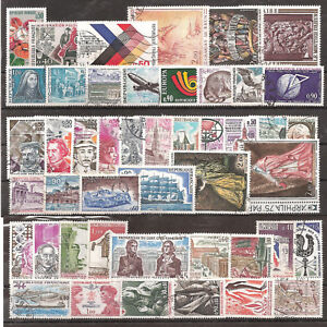 Timbres-France-Obliteres-Annee-1973-complete