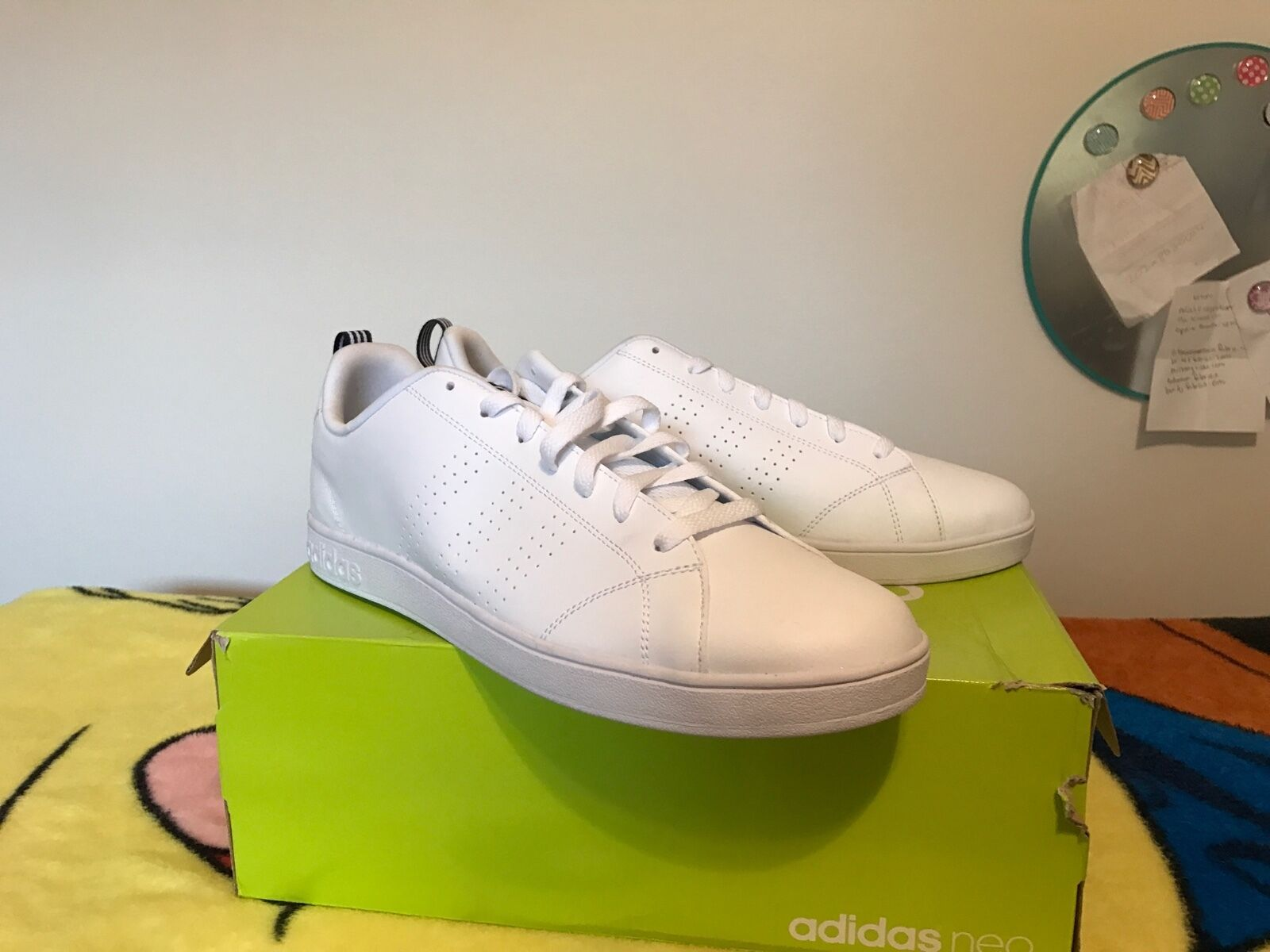 New in Box Adidas Men's NEO Advantage Clean VS Sneakers White Navy Size 13