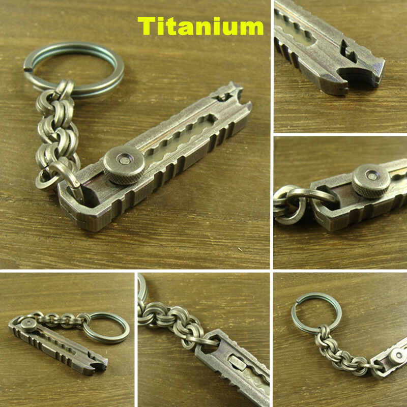 Titanium folding paper knife + Ti chain hand polished Key chain EDC