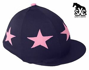 Riding Hat Silk skull cap cover NAVY BLUE SILVER /& PINK STARS with OR w//o Pompom