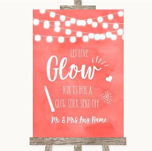 Coral Acquerello LUCI Let Love LUMINOSI glowstick Personalizzato Matrimonio segno  </span>