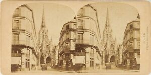 FRANCE-Rouen-Eglise-Saint-Maclou-Photo-Stereo-Vintage-Albumine-PL62L8