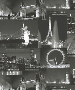 Image Is Loading Night City Black White London New York Cityscape