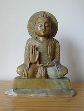 c.19th - Antique Chinese China Soapstone Hand carved Buddha Statue Figure