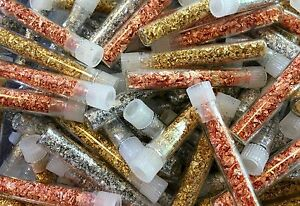 5 Gold + 5 Silver + 5 Copper Flake Vials... Lowest Price online !!