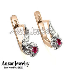 For Children and Adult Diamond & Ruby Russian Style Earring Solid 14k Gold (585)