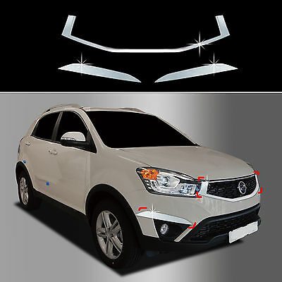 Chrome Bumper Radiator Grill Molding Trim Cover for 13+ Ssangyong Korando C
