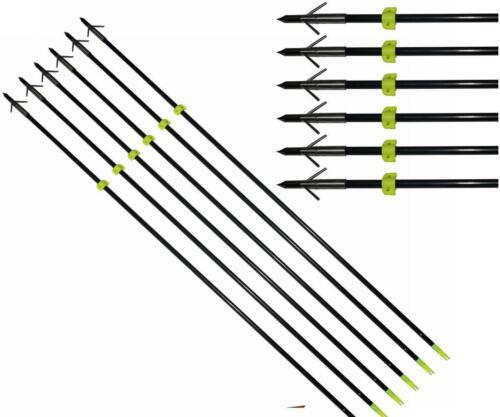 "6xArchery 34/"" Bow Fishing Fish Arrows Hunting Arrow head with Silver Torpedo Tip"