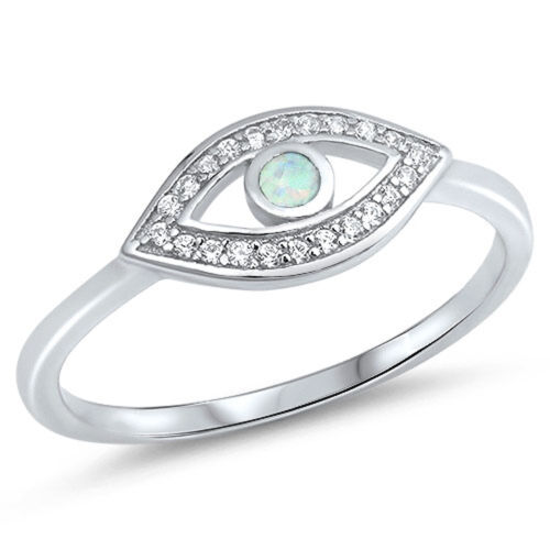 925 Sterling Silver Lab Created White Opal /& Cubic Zirconia Evil Eye Ring