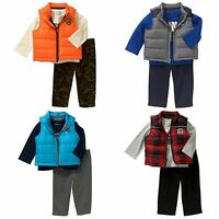 Puffer Vests Healthtex Newborn Baby Boy Puffer Vest, Patch Tee & Pant 3 Pc Set
