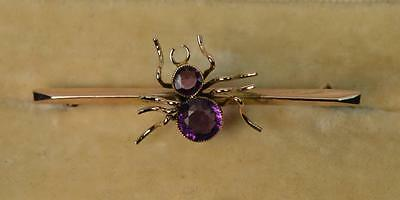 Novelty Spider 9ct Rose Gold and Amethyst Victorian Brooch t0743