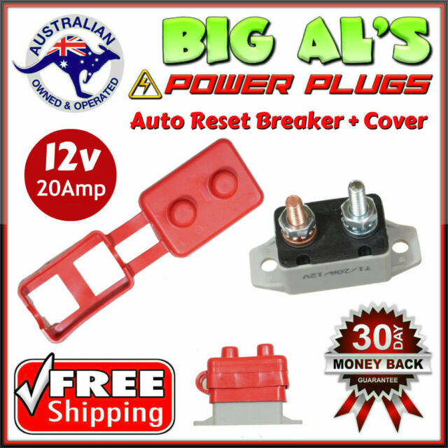 1 x 20A 12v Auto Automatic Reset Circuit Breaker Stud Type + Protective Cover