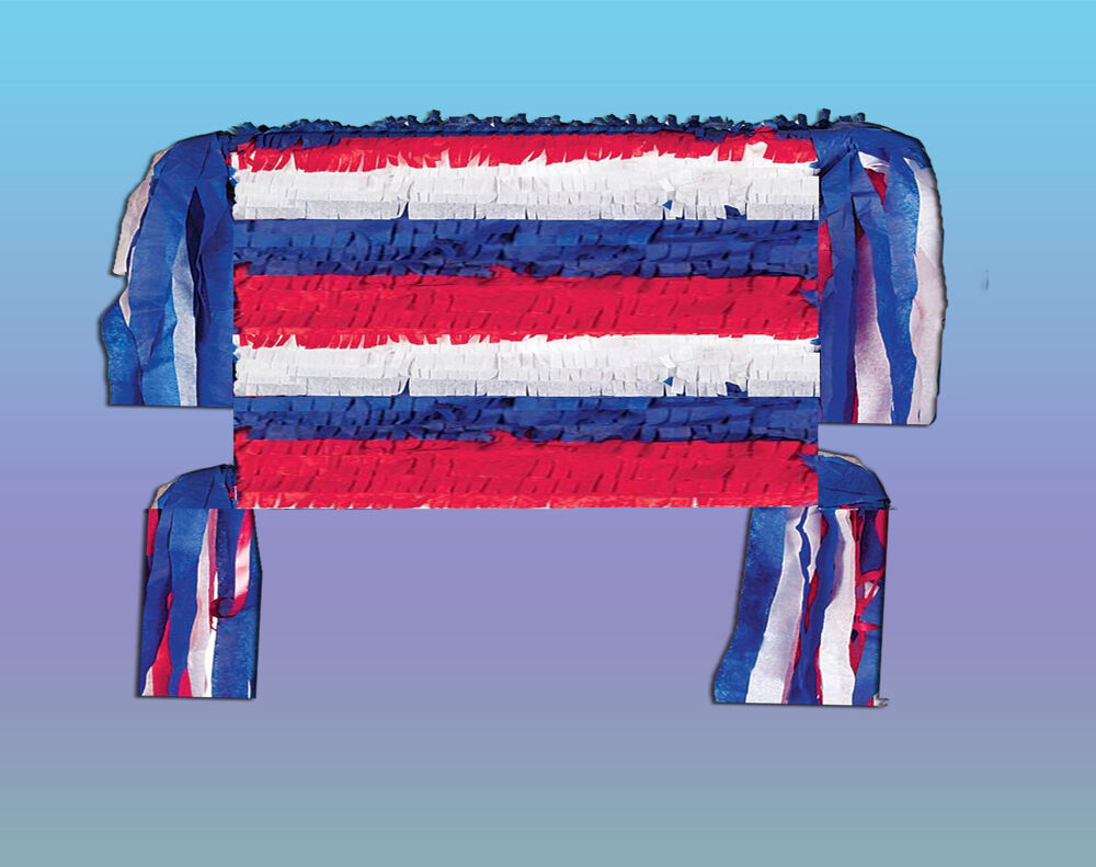 USA PATRIOTIC AMERICAN BIRTHDAY PARTY PINATA GAMES SUPPLIES PULL STRING OR HIT