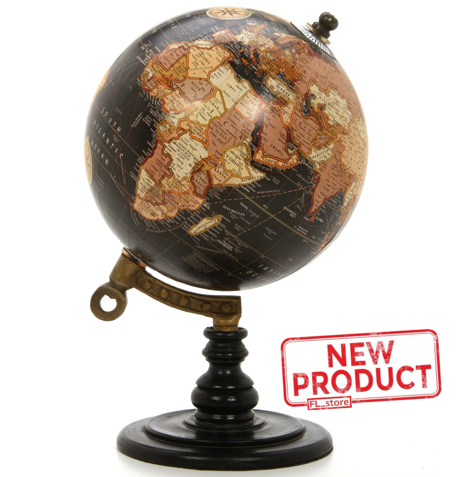 "5/"" Vintage BLACK World Map Globe Decorative Tiny Desktop Rotate Geography Globe"